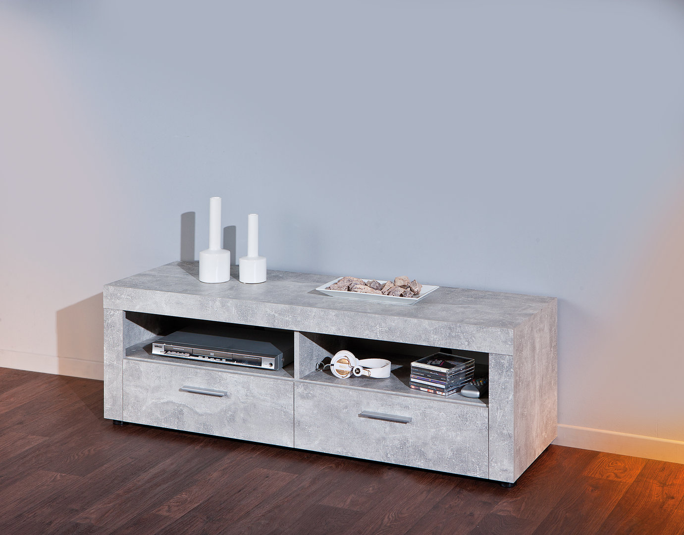 Porta tv moderno Jhonny, colore cemento di design, con 2 cassetti
