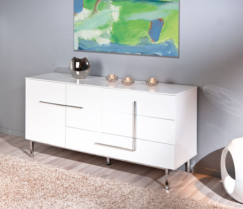 Madia moderna Jole 22, credenza bianca, mobile soggiorno ...