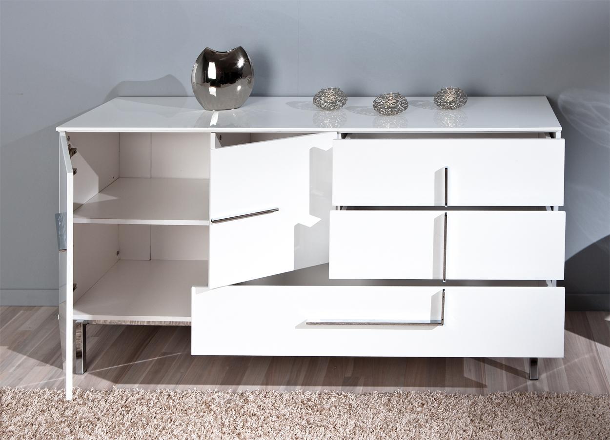 Madia moderna Jole 22, credenza bianca, mobile soggiorno design