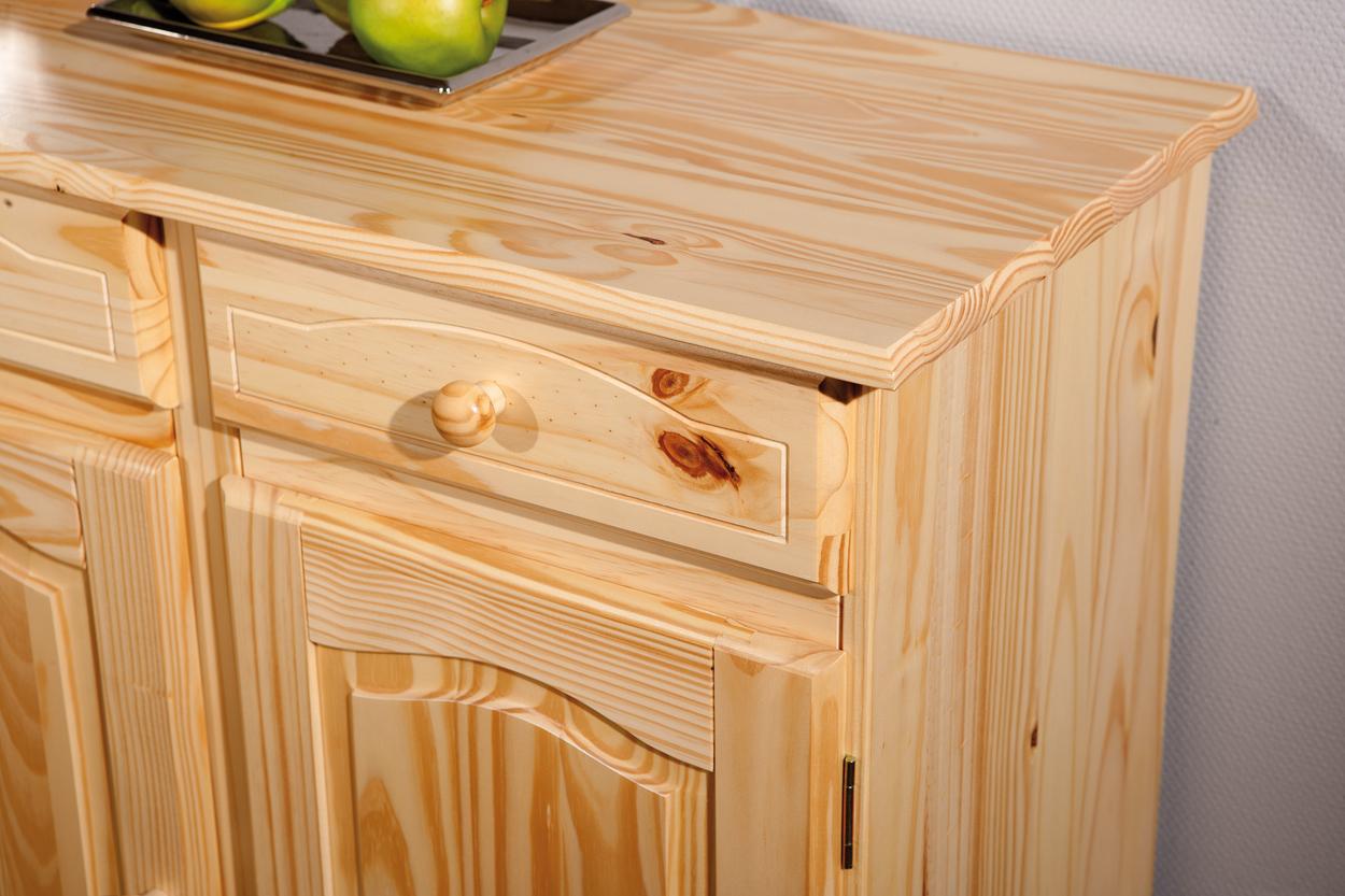 Norda credenza classica, legno di pino naturale, mobile soggiorno