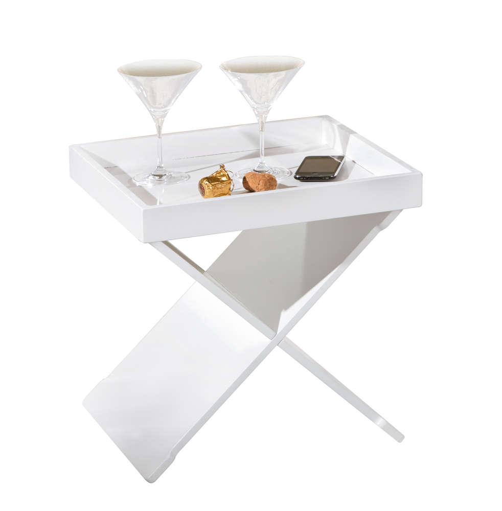 Tavolino Con Vassoio Asportabile.Revit Tavolino Moderno Bianco Nero Mobile Con Vassoio