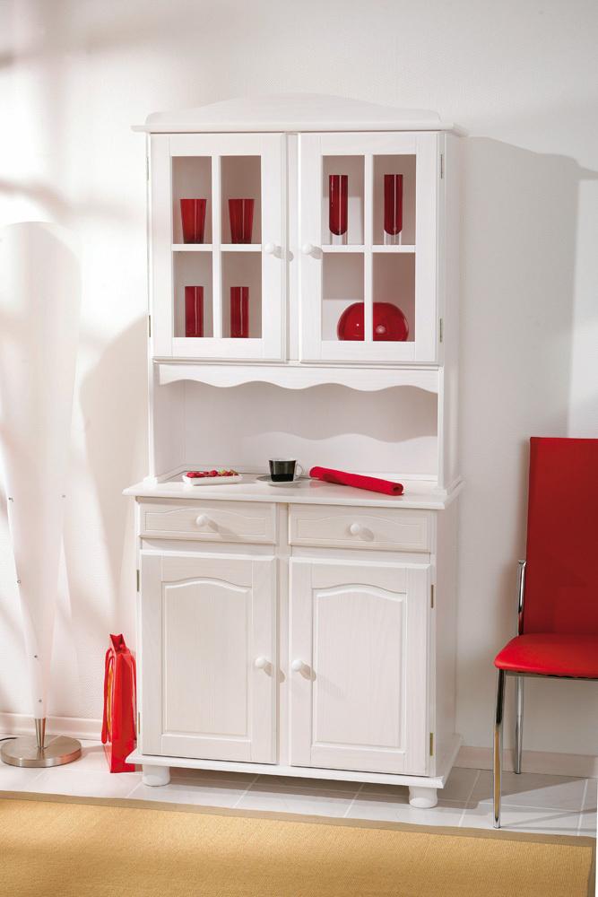 Vetrina classica bianca Fiona, mobile cucina,soggiorno country