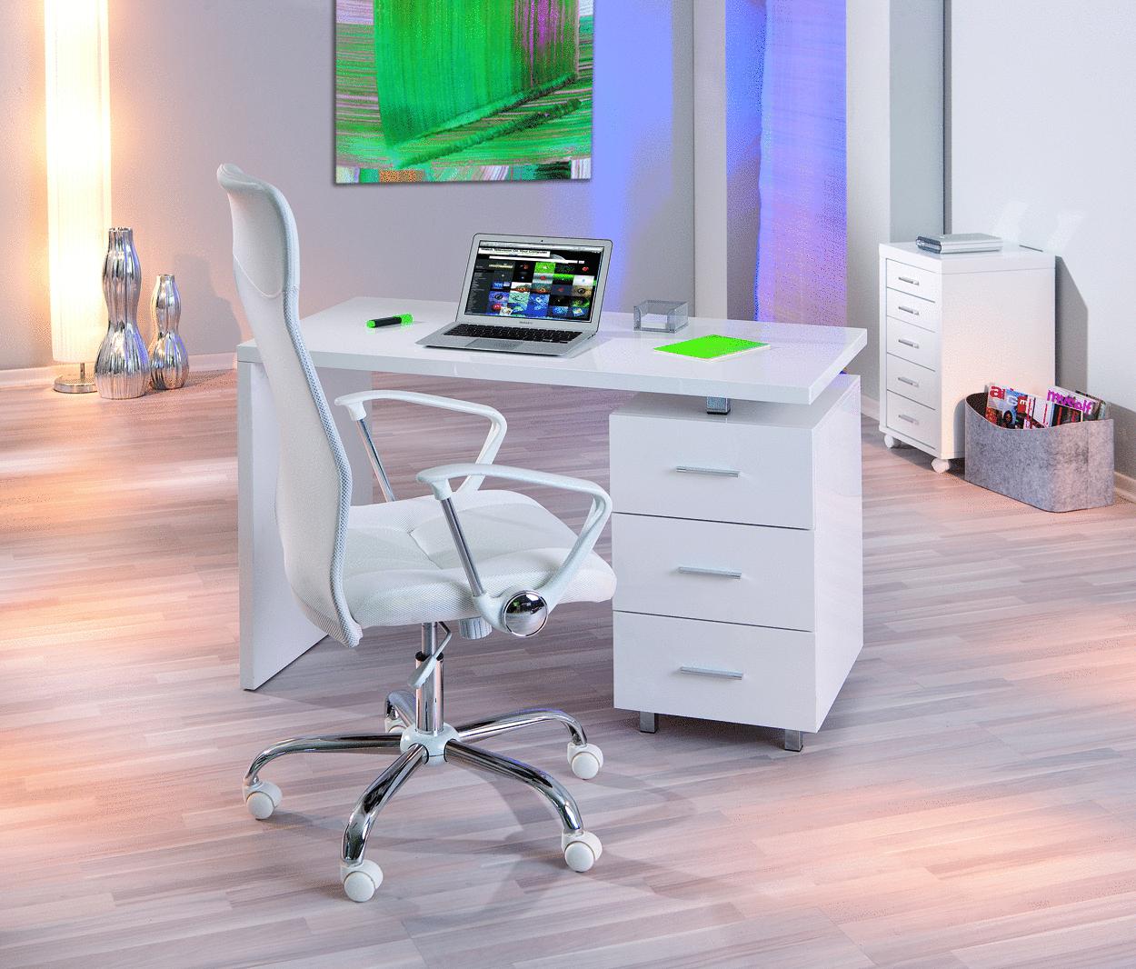 Scrivania bianca shark mobile ufficio studio soggiorno for Scrivania soggiorno