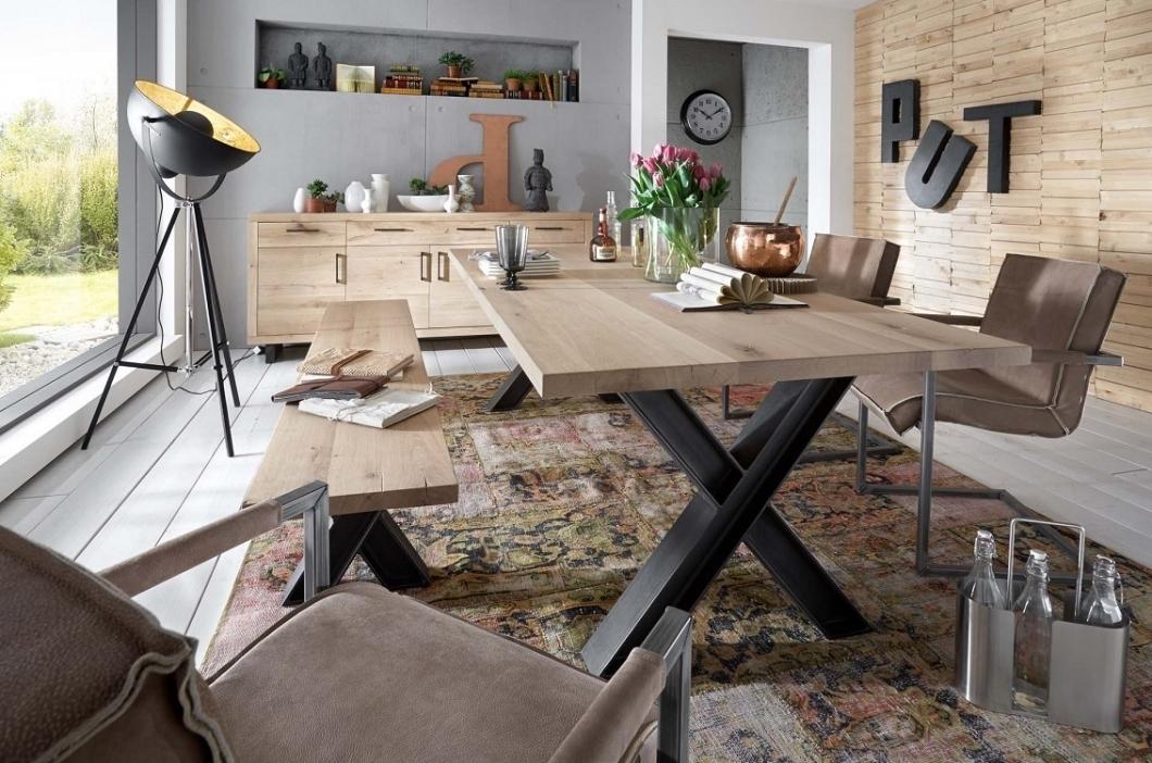 Tavolo da pranzo gold in legno massiccio mobile moderno for Mobile tavolo