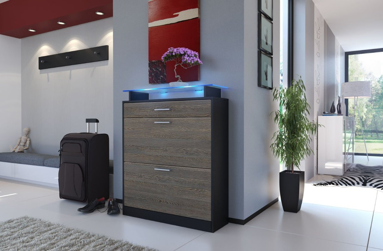 Scarpiera nera moderna brina mobile ingresso entrata in 19 for Colori mobili moderni