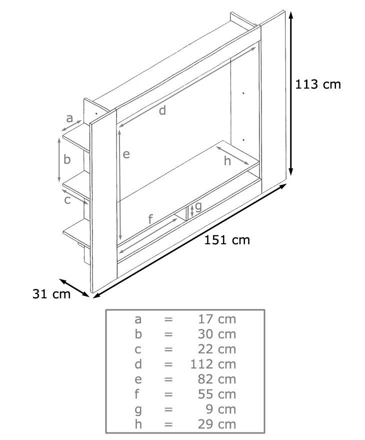 Porta tv moderno Quadro, parete soggiorno design, mobile bianco