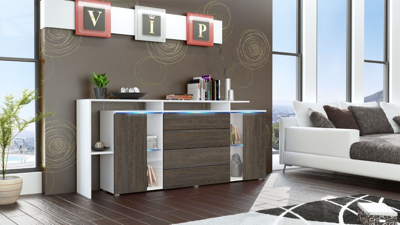 Credenza Moderna Nera : Credenza moderna lecce madia con led mobile soggiorno di design