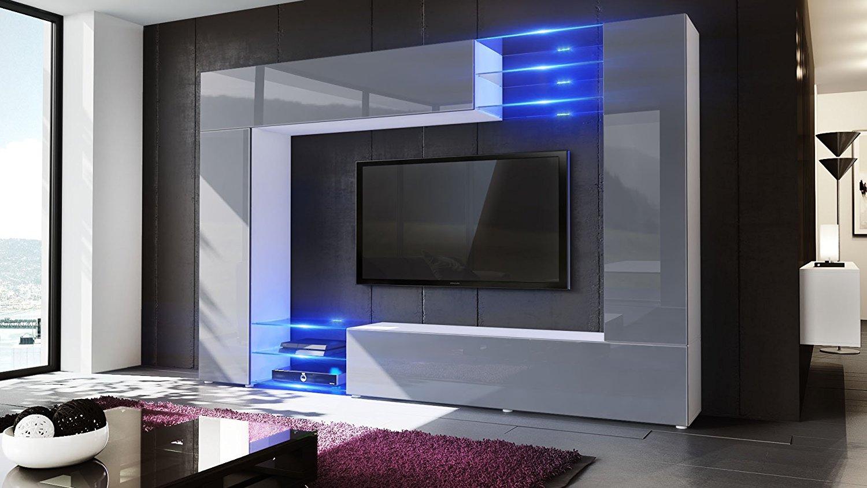 Wast. Parete porta TV moderno, mobile soggiorno in 13 finiture