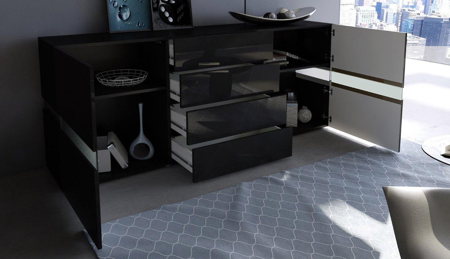 Credenza Moderna In Vetro : Credenza moderna faro bianca o nera mobile soggiorno con led
