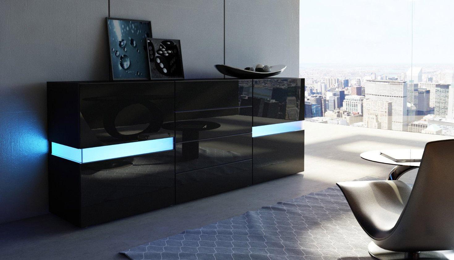 Credenza Moderna Lunga : Credenza moderna faro bianca o nera mobile soggiorno con led