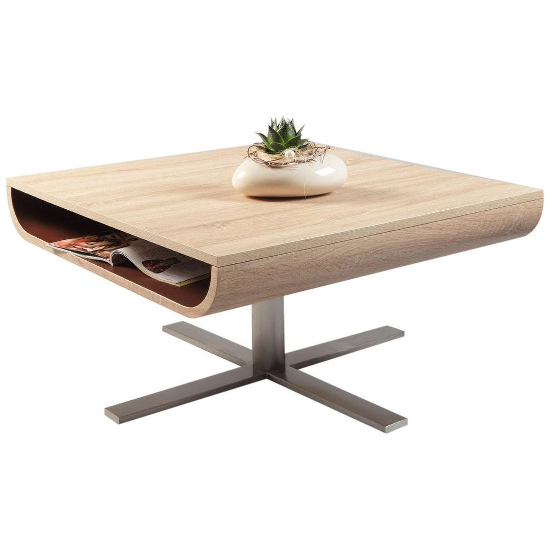 Tavolino moderno marley cm 80x80x42 piano e ripiano for Tavolino soggiorno bianco