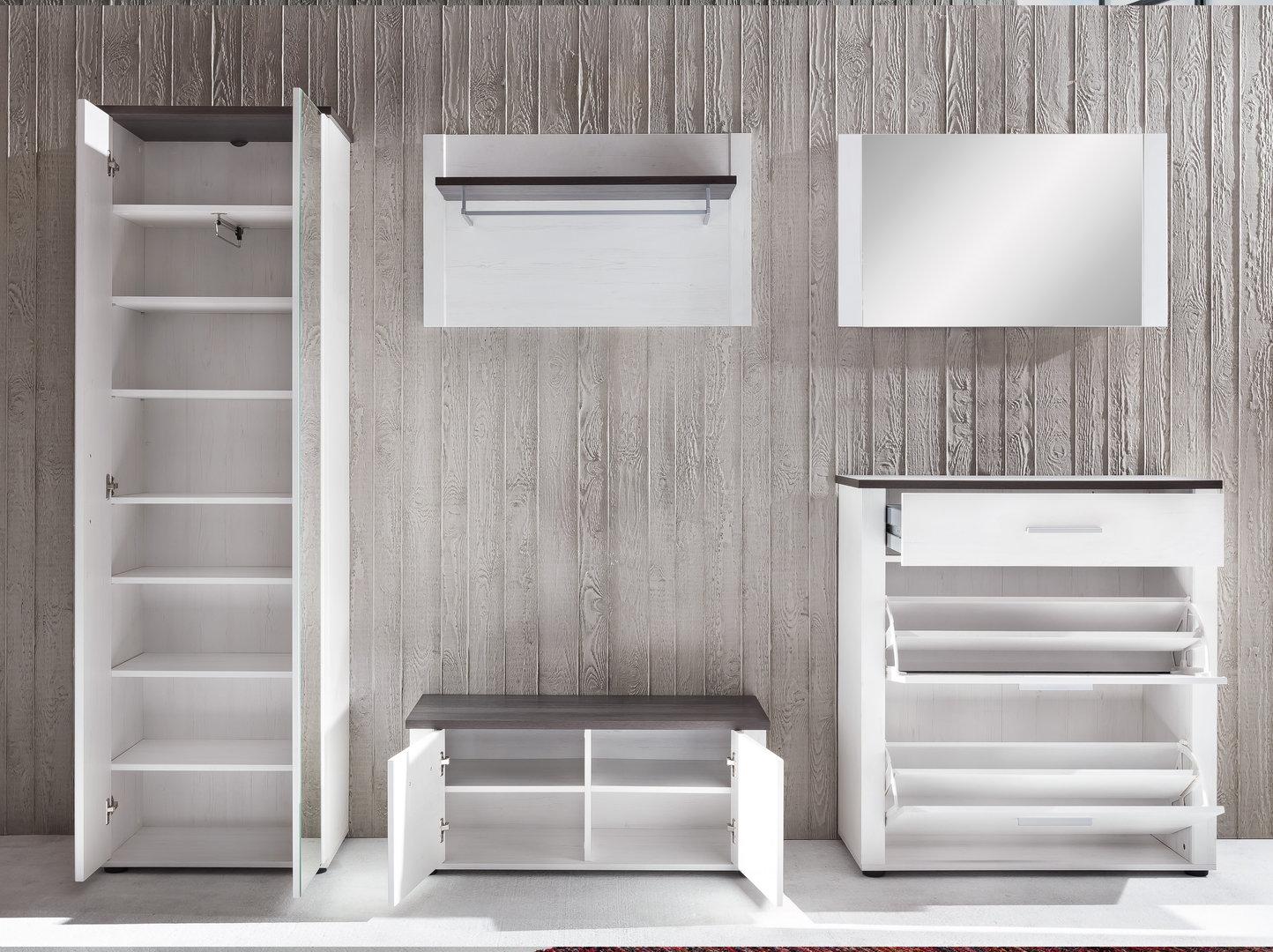Entrata moderna demy mobili in finitura tinta legno bianco - Mobili per corridoio ...