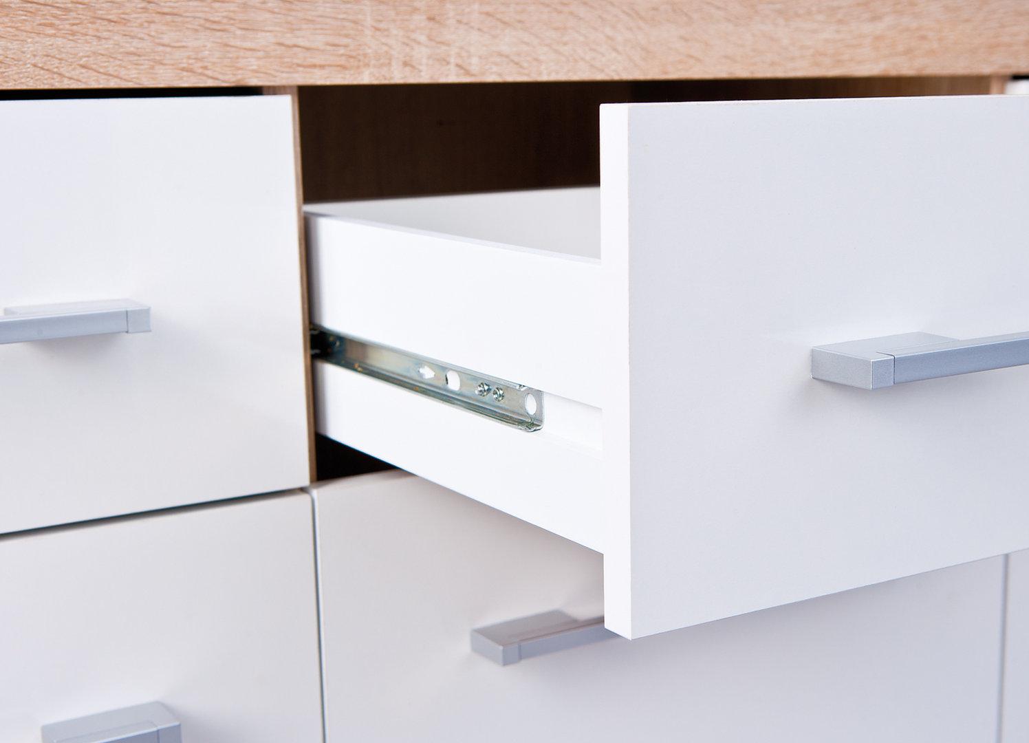 Madia moderna sara credenza design com bianco e rovere for Madia per soggiorno