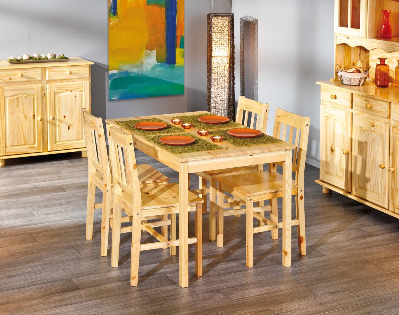 Tavolo con sedie bea mobile per cucina in legno naturale for Mobile basso sala da pranzo