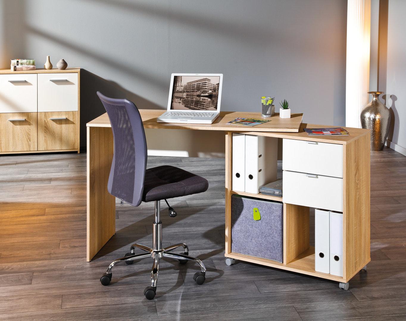 Scrivania moderna Jey, mobile girevole per studio,ufficio