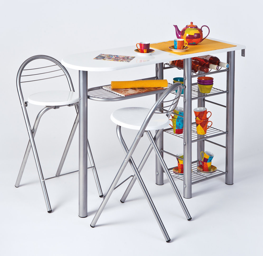 Tavolo da colazione Compact 43, tavolo da pranzo con due sedie