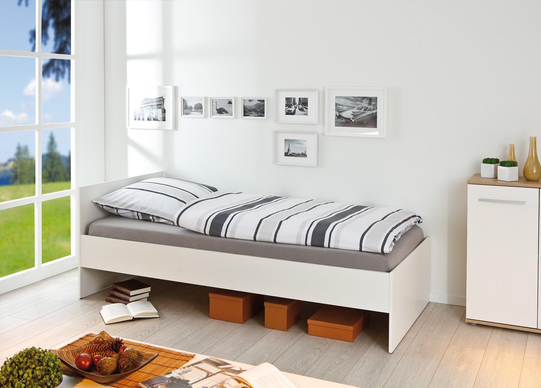 letto singolo week bianco o rovere mobile moderno ad una piazza. Black Bedroom Furniture Sets. Home Design Ideas