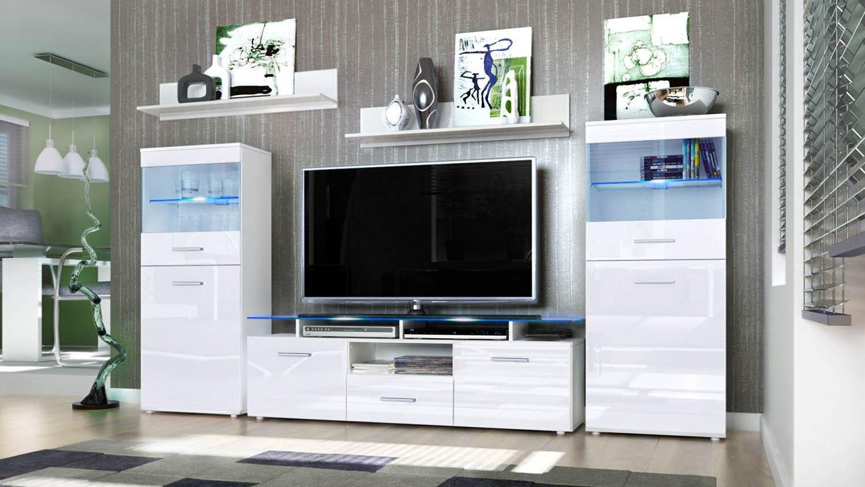 Parete porta tv moderna Agata, soggiorno bianco o nero