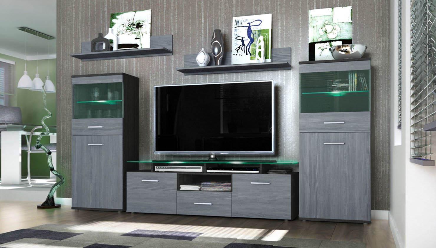 Parete porta tv moderna agata soggiorno bianco o nero for Parete tv moderna