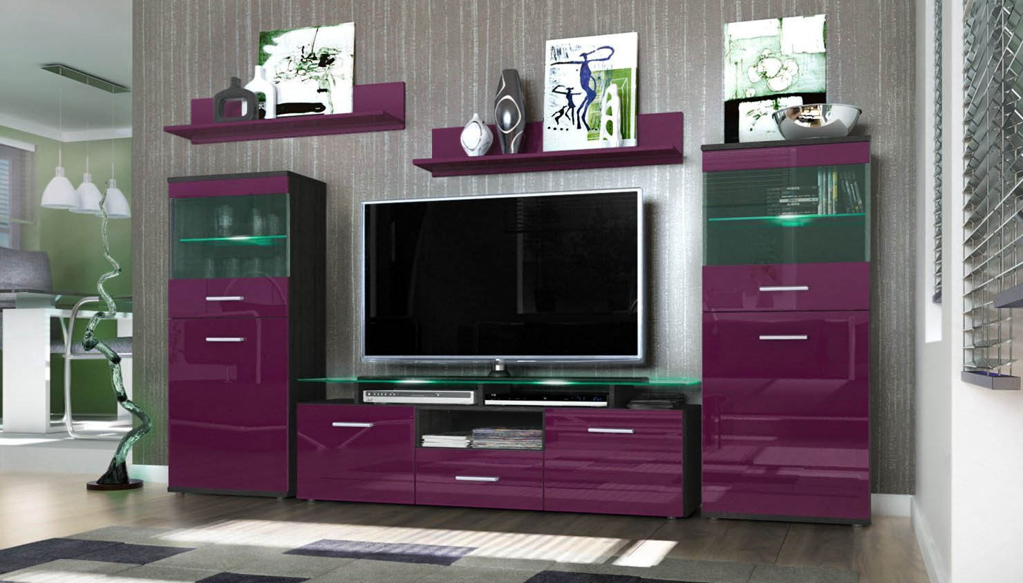 Parete porta tv moderna agata soggiorno bianco o nero - Soggiorno porta tv ...