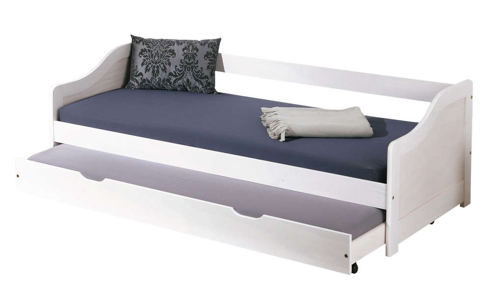 Letto in legno massello Arianna, con secondo letto estraibile