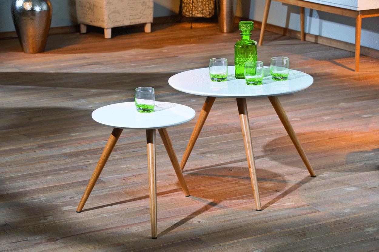 Tavolino moderno Doppelt, tavolo doppio per soggiorno di design
