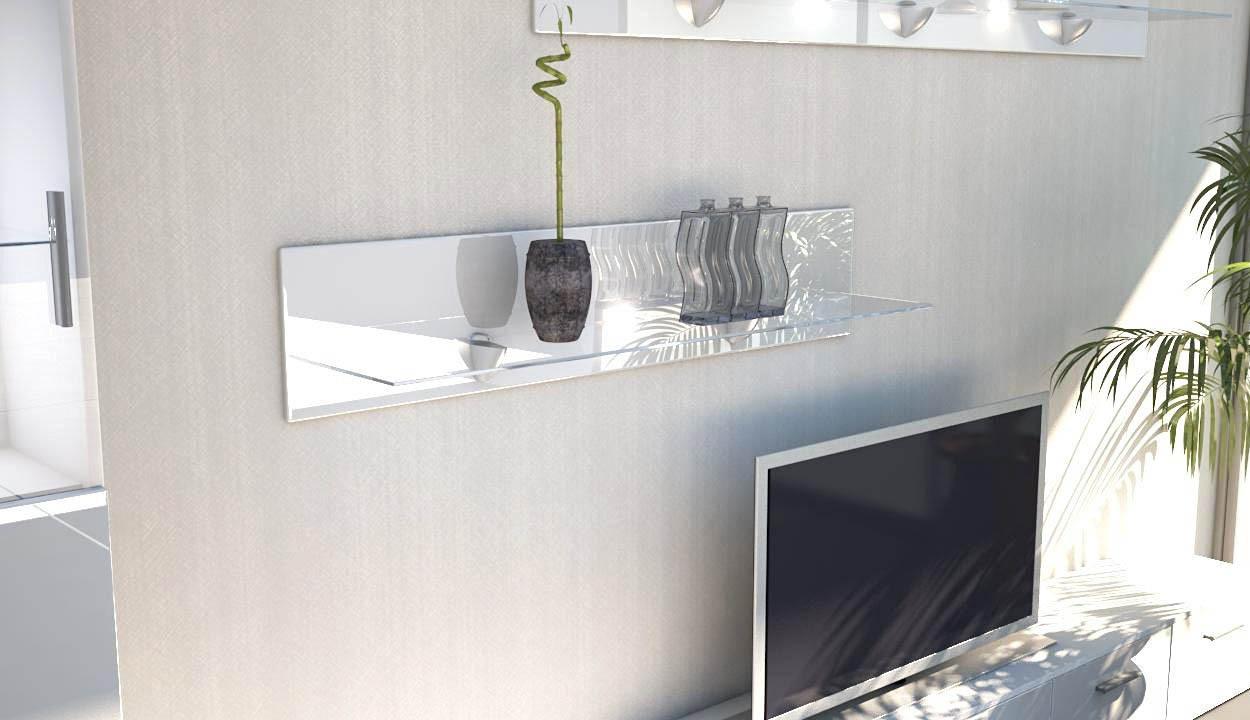 Mensole In Vetro Bianco.Ariel Mensola In Vetro Moderna Cm 98 Complemento Arredo