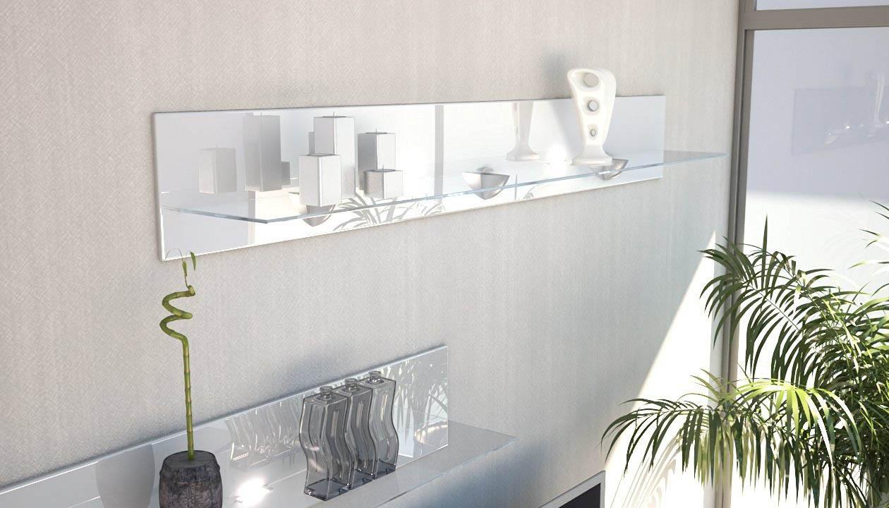 Mensole In Vetro Bianco.Ariel Mensola Vetro Moderna Cm 146 Per Soggiorno Sala Camera