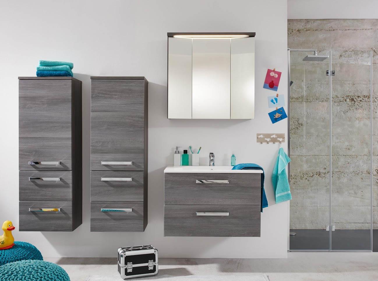 Composizione per bagno Abram, mobili moderni in due colori