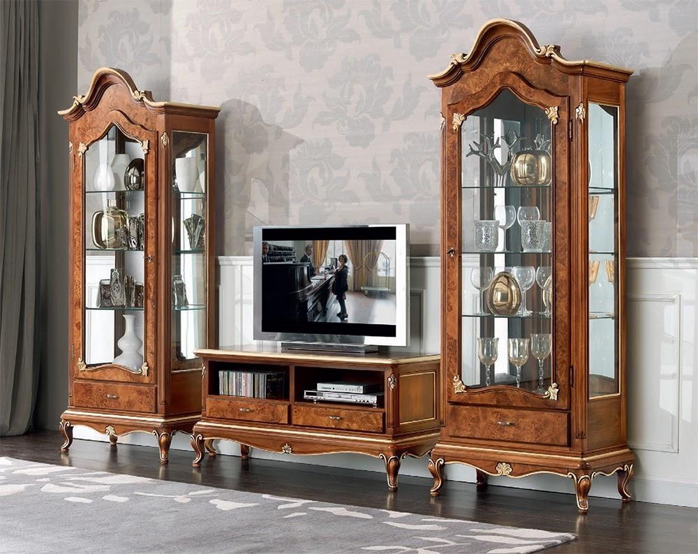 Sala soggiorno in stile classico Art Decò vetrinetta porta tv lcd