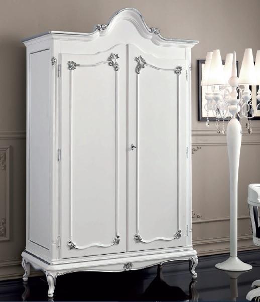 Armadio bianco classico in stile Art Decò,guardaroba a due ante