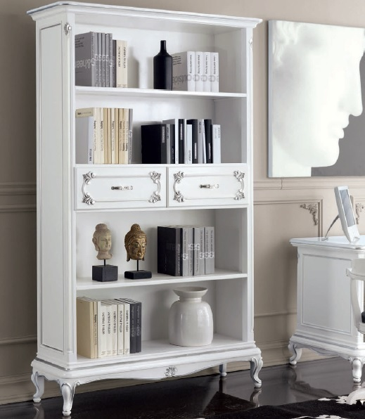 Libreria Bianca Classica In Stile Art Dec Mobile Per ...