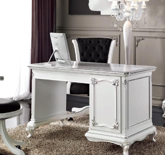 Scrivania Art Decò bianca, mobile soggiorno ufficio studio