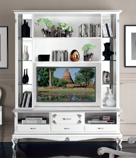 Parete porta tv in stile Art Decò, mobile soggiorno, credenza