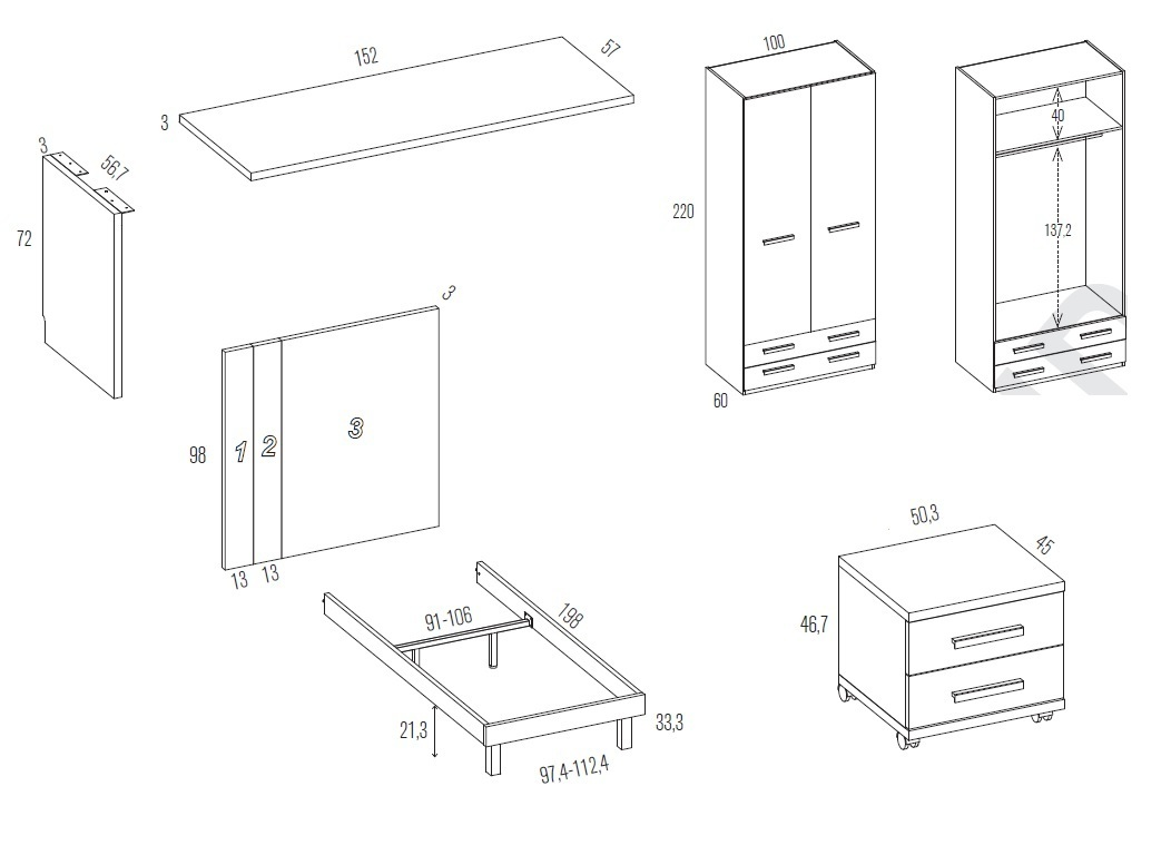 Misure comodino camera da letto design for Armadio camera letto misure standard