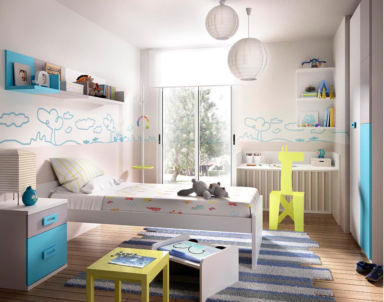 Cameretta baby convertibile k 601 letto armadio scrivania bambini - Armadio cameretta bimbi ...
