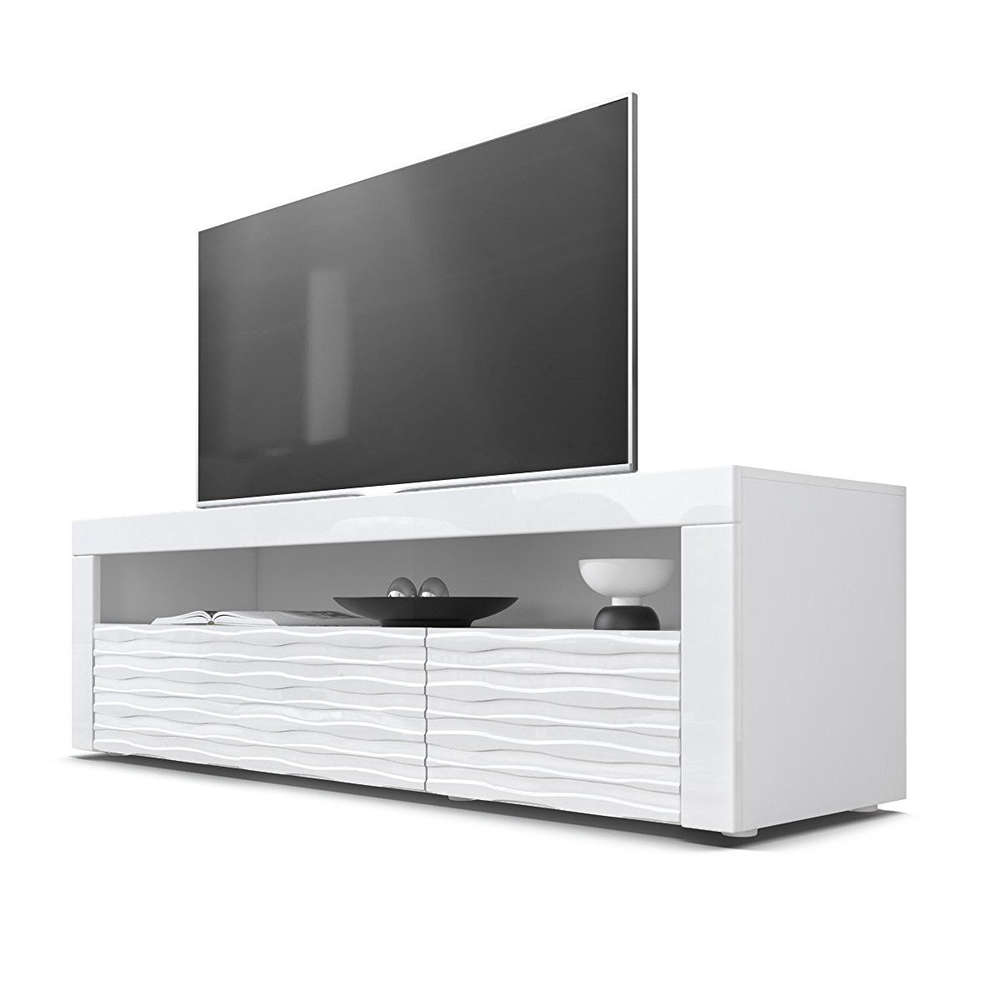 Mobile porta tv bianco Giglio 3D,frontali con disegno rilevo