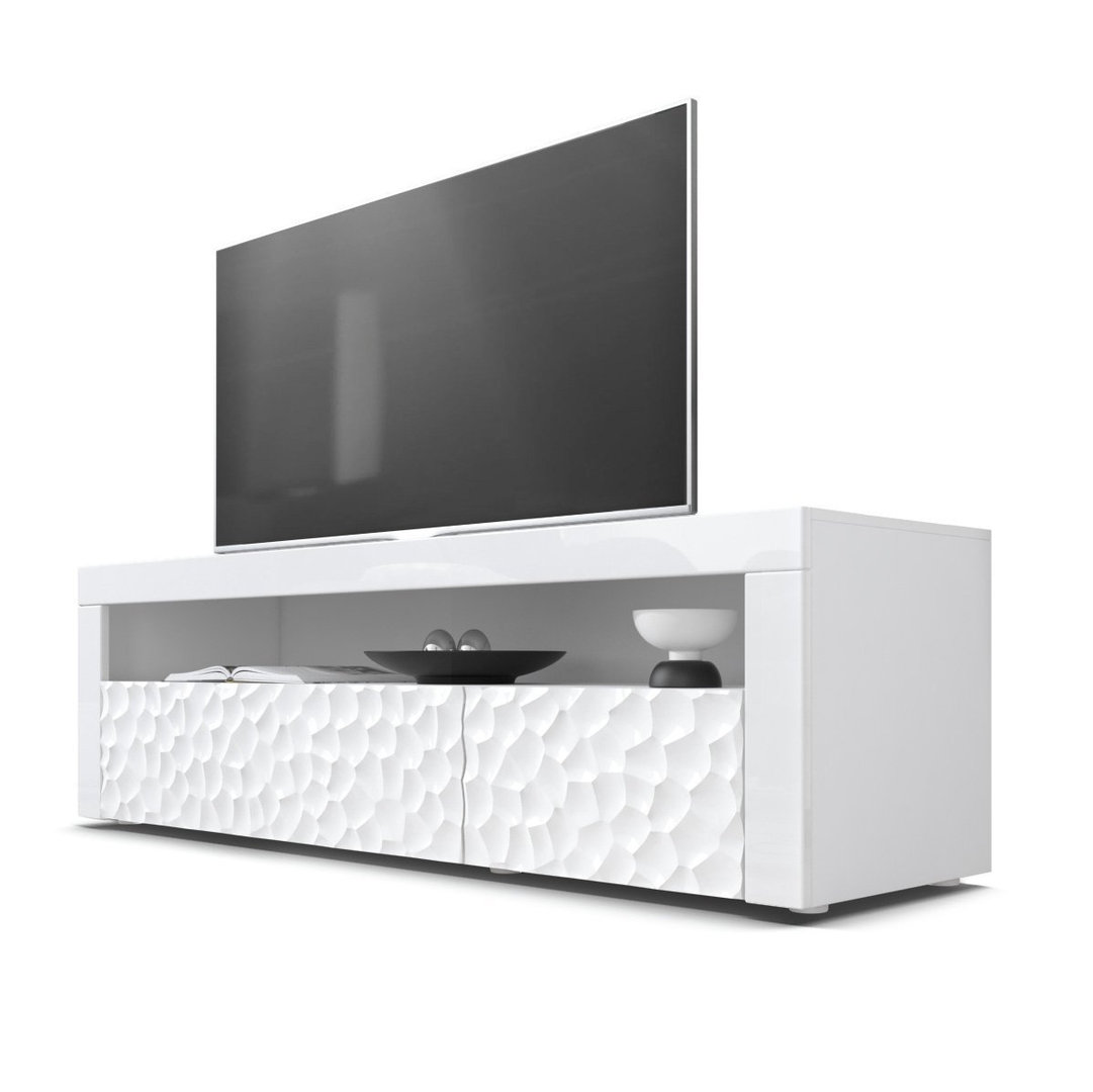 Mobile porta tv bianco giglio 3d frontali con disegno rilevo - Porta tv bianco ...