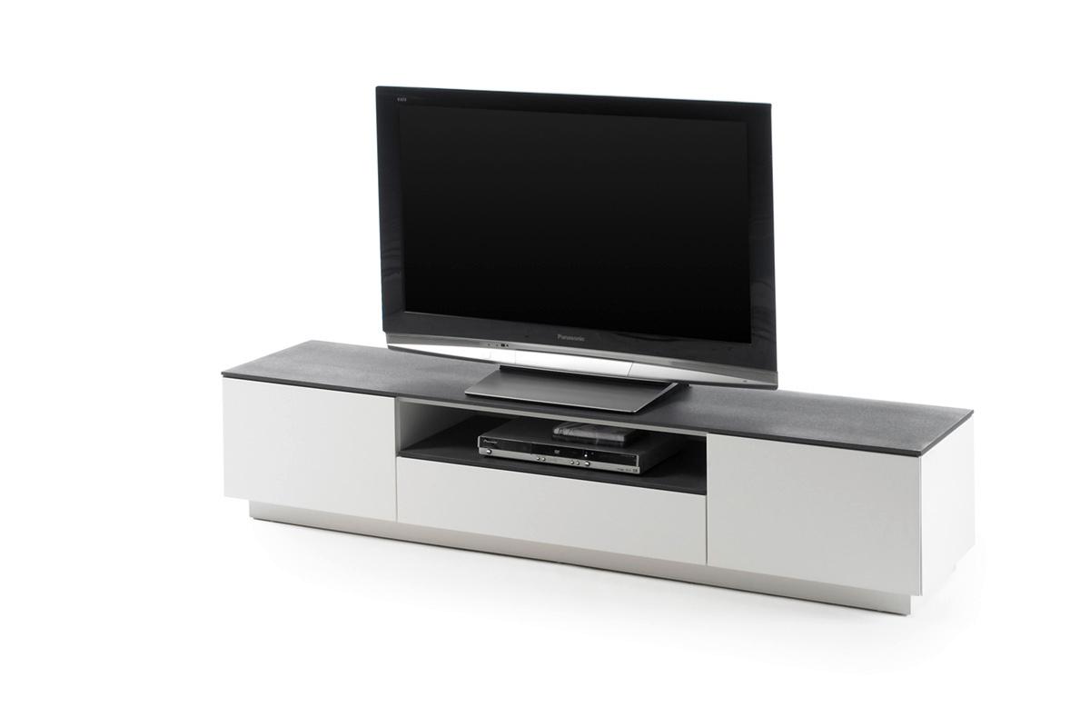 Porta tv moderno Velo, mobile soggiorno elegante bianco opaco