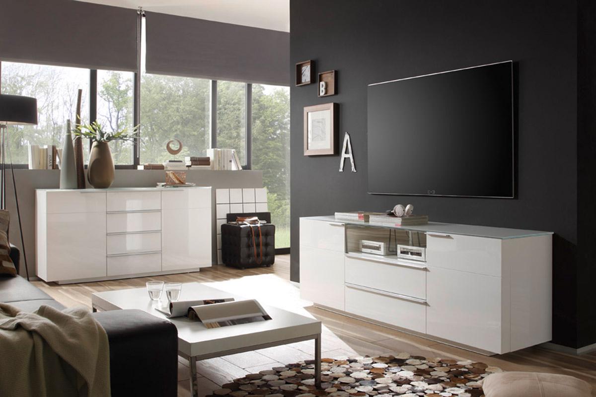 Credenza moderna gea madia bianca mobile soggiorno sala for Mobile sala design