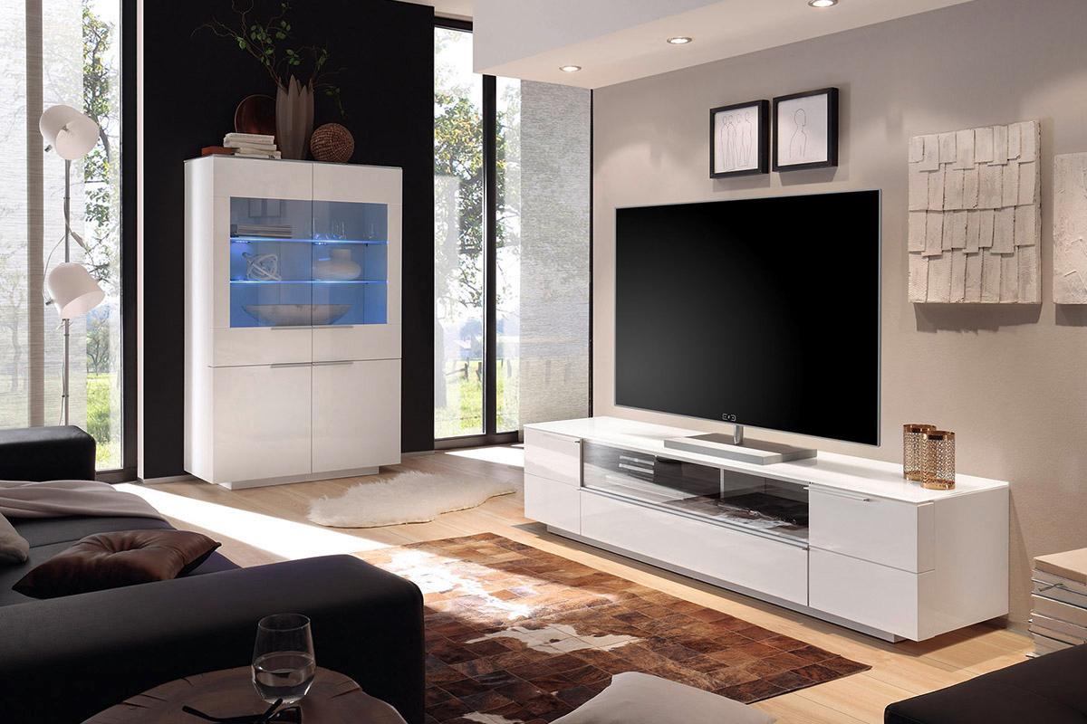 Porta tv moderno collezione gea mobile soggiorno bianco for Mobile soggiorno bianco