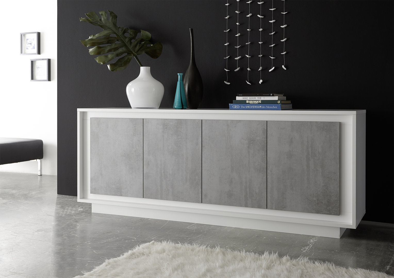 Madia moderna Dolce, mobile unico e particolare,soggiorno bianco
