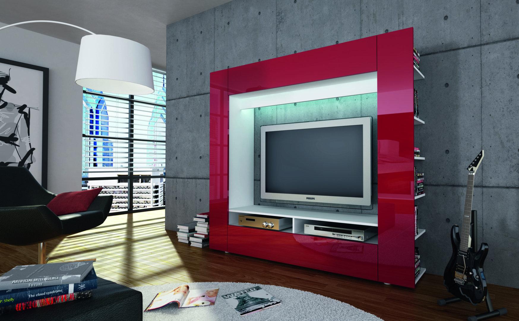 Porta tv grande king parete soggiorno mobile per tv in 5 for Parete tv design