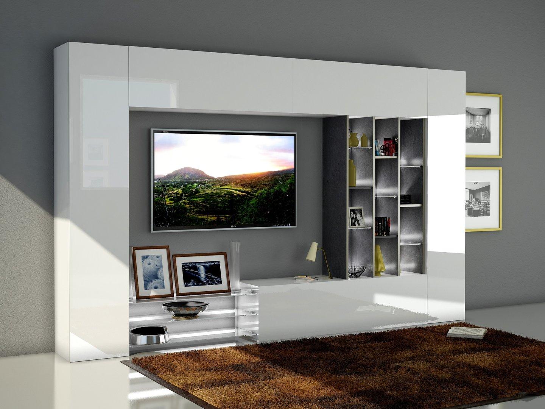 Soggiorno moderno torino porta tv bianco composizione parete - Mobile moderno per soggiorno ...