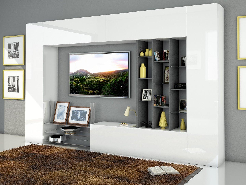 Soggiorno moderno torino porta tv bianco composizione parete for Mobile da soggiorno moderno