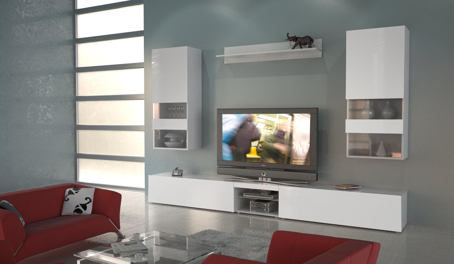 Soggiorno moderno Trento, mobile porta tv bianco elegante