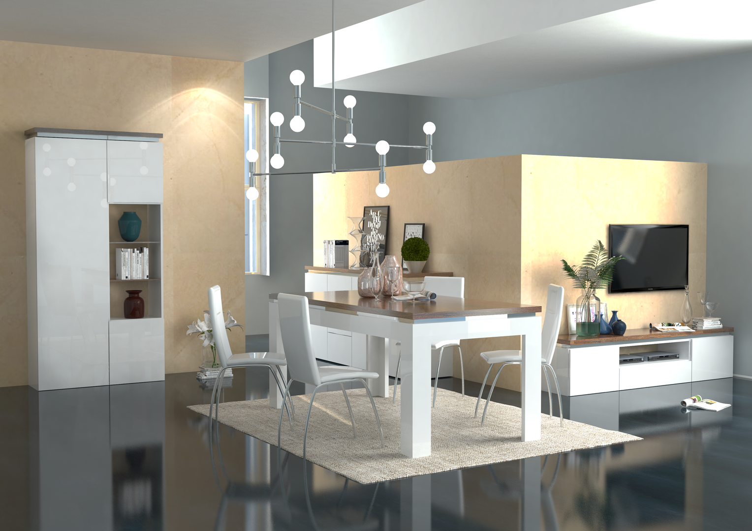 Mobile porta tv bianco messico per soggiorno moderno elegante for Mobile soggiorno bianco