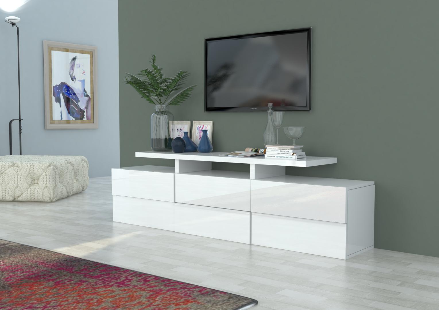 Porta tv moderno Canada, mobile soggiorno bianco o antracite