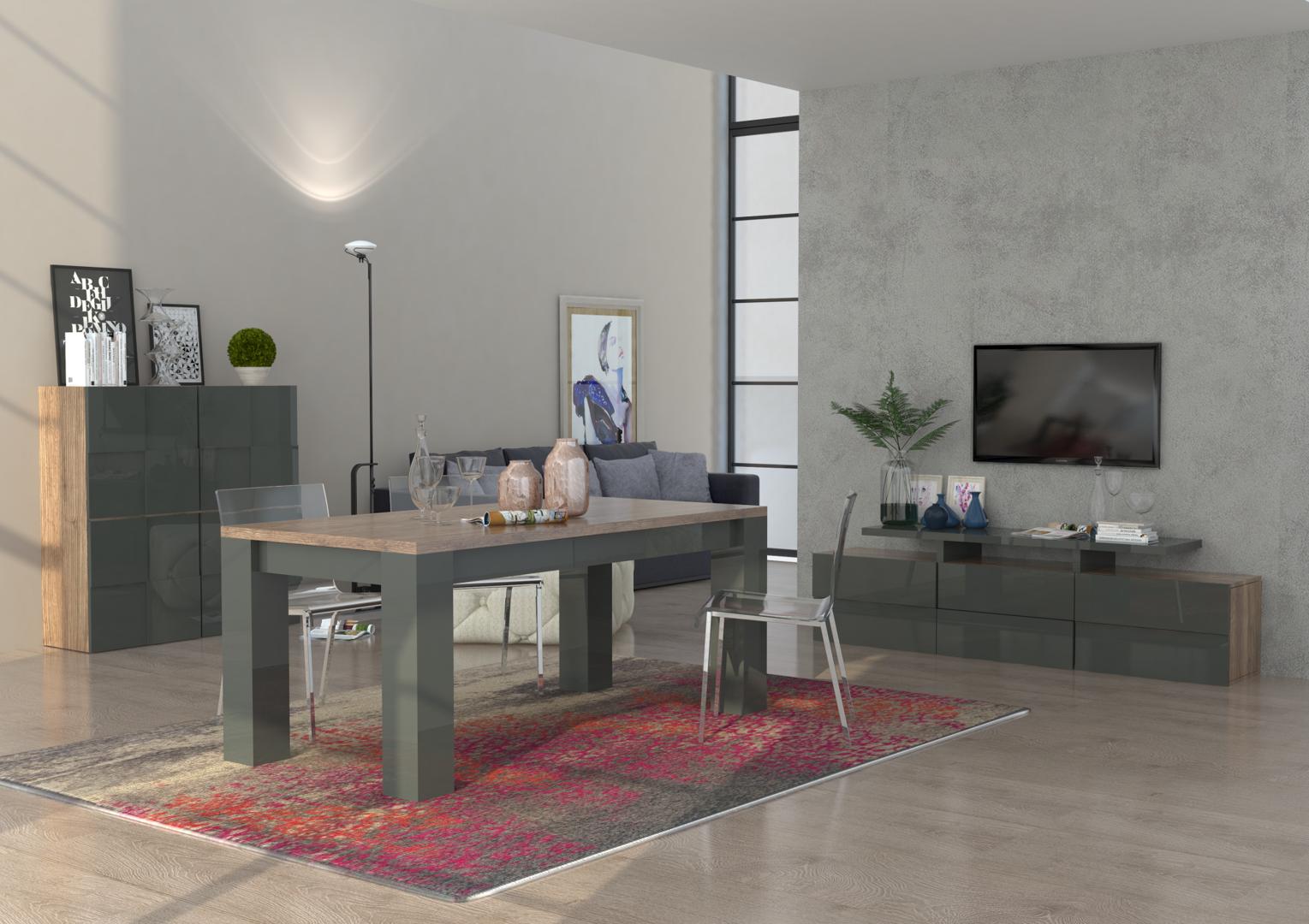 Porta tv moderno canada mobile soggiorno bianco o antracite for Soggiorno bianco