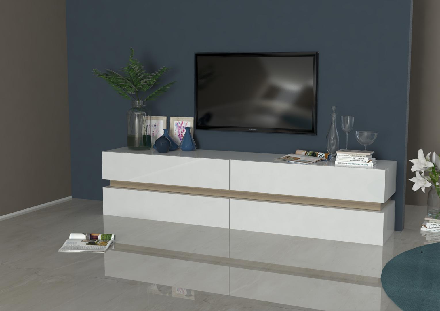 Porta tv capiente Grecia, mobile per soggiorno bianco o antracite